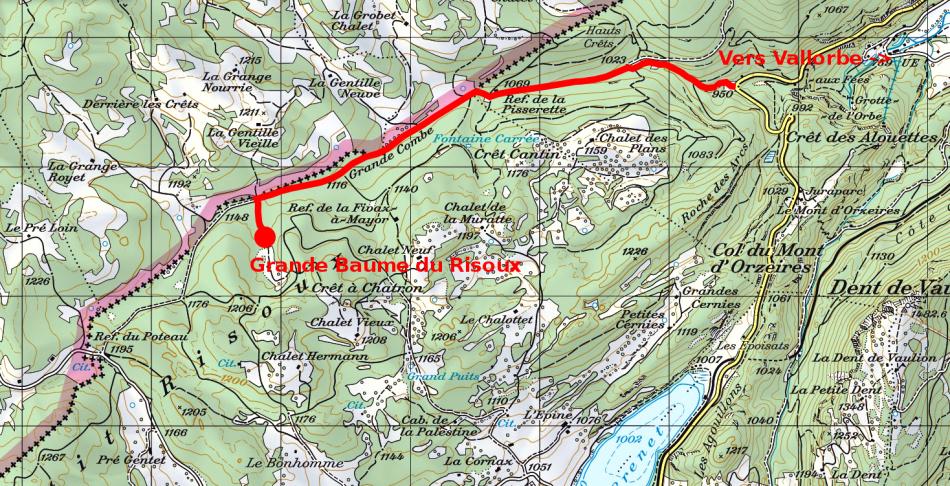 Accès à la Grande Baume depuis Vallorbe